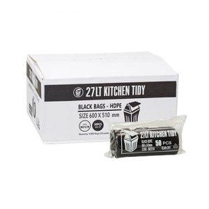 27L Med Kitchen Tidy Liner HDPE - Black