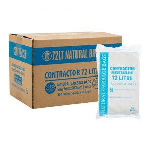 72L Natural HDPE Garbage Bags EHD