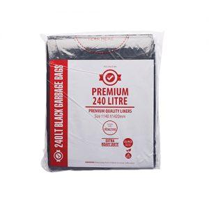 240L EHD Premium Black Garbage Bags 40um