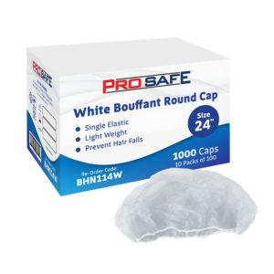"ProSafe White Bouffant Round Cap 24"" - BHN114W"